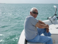 Dad on flats boat