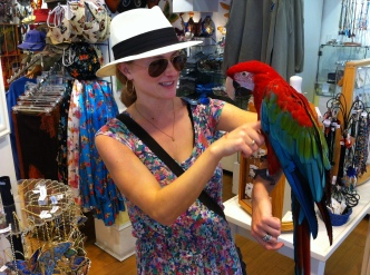 Andrea with macaw