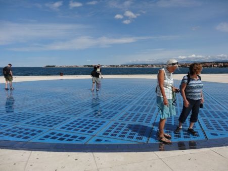 Solar panels power the waterfront