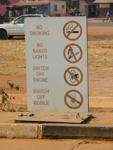 No naked lights at the petrol station!